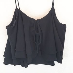 Free People   Black Lace Back Tiered Tank